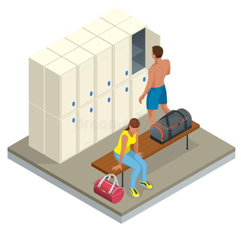 Равновеликий интерьер шкафчика и раздевалки Vector изменяя раздевалка с стендами и хранением приложений ливня иллюстрация вектора