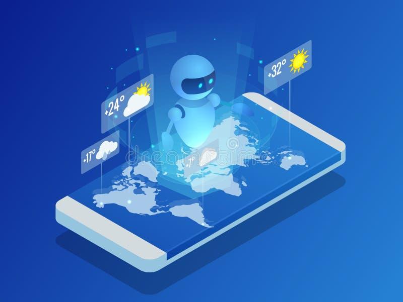 Равновеликий искусственный интеллект показывает погоду в мире на smartphone Концепция дела искусственного интеллекта иллюстрация штока