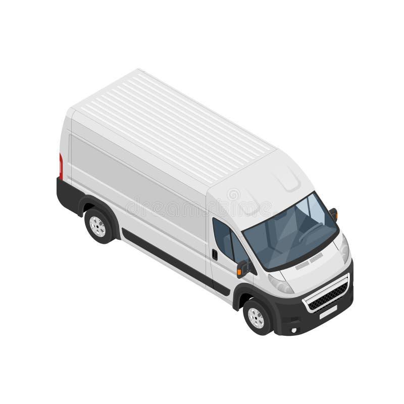Равновеликий коммерчески фургон значок изолированный на белой предпосылке Иллюстрация плоского вектора 3d равновеликая иллюстрация штока
