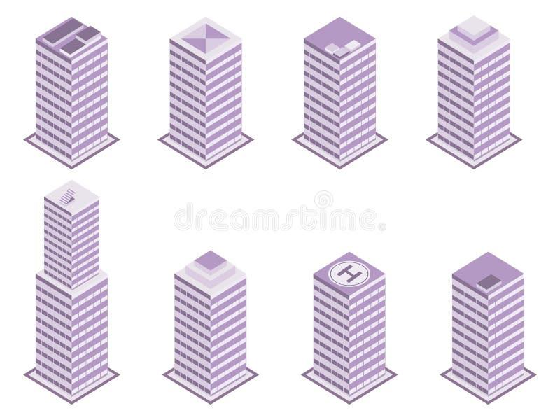 Равновеликий комплект здания изолированный на белой предпосылке Многоэтажные здания, небоскребы вектор иллюстрация вектора