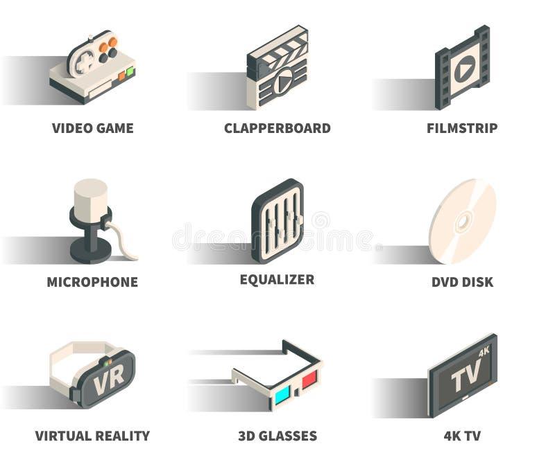 Равновеликий комплект значка сети 3D иллюстрация штока