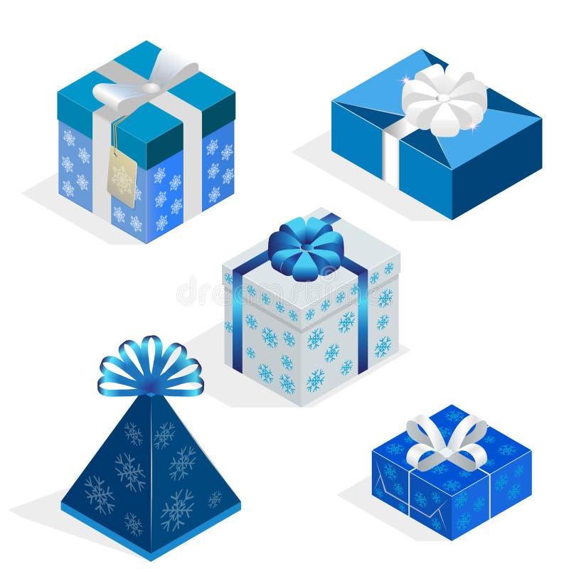 Равновеликий комплект красочных подарочных коробок с смычками и лентами внутренний сярприз также вектор иллюстрации притяжки core иллюстрация штока