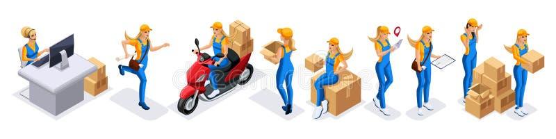 Равновеликий комплект курьеров девушек, обслуживание поставки Курьер девушки бежит, редактирует на мопеде во время поставки заказ иллюстрация вектора