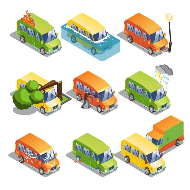 Равновеликий комплект страхования автомобилей иллюстрация вектора