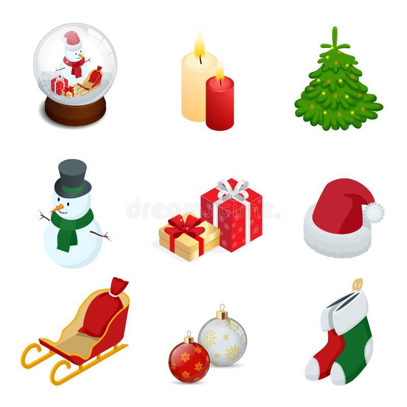 Равновеликий комплект установленных значков украшения праздника Нового Года рождества изолировал шарик Нового Года s иллюстрации  иллюстрация вектора
