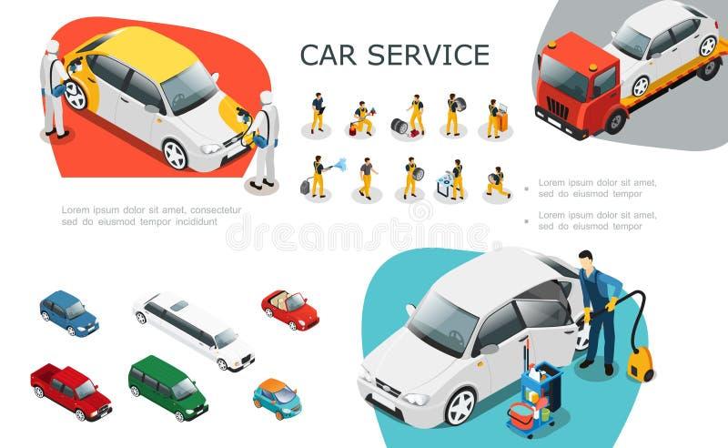 Равновеликий комплект элементов обслуживания автомобиля иллюстрация штока