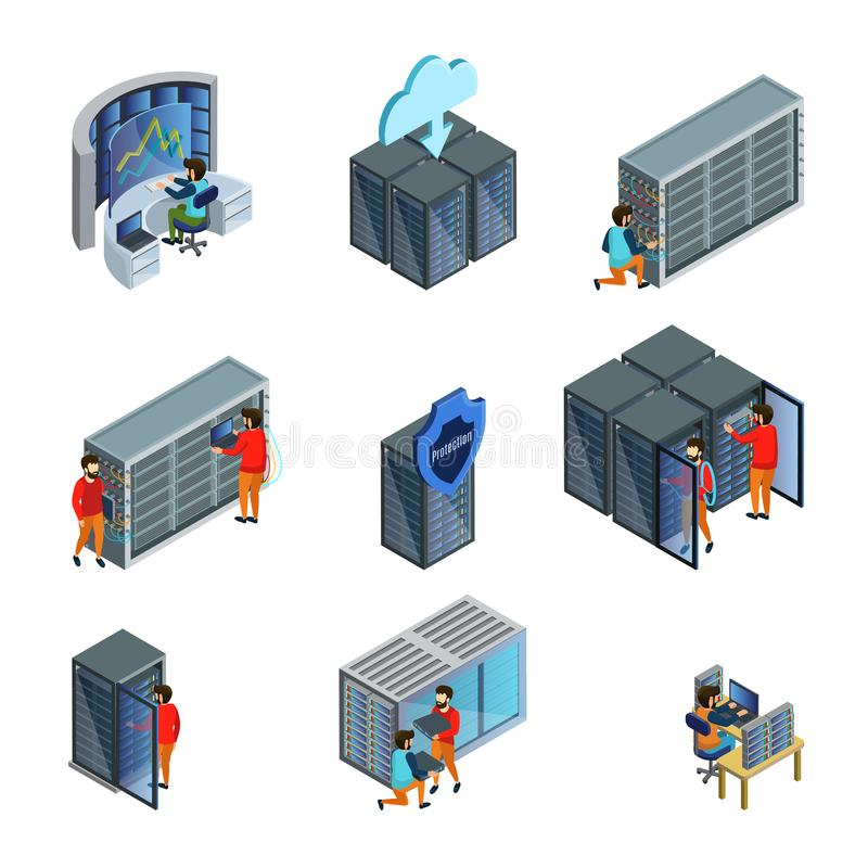 Равновеликий комплект элементов Datacenter иллюстрация штока