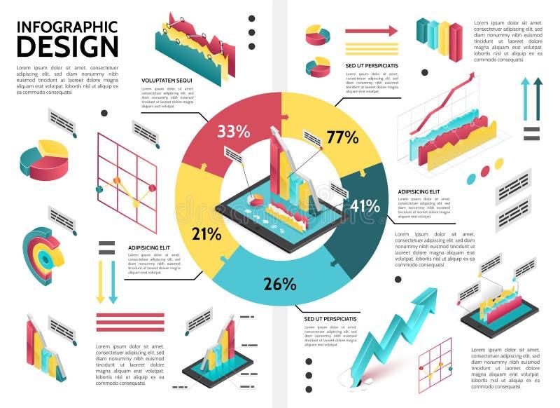 Равновеликий красочный шаблон Infographic дела иллюстрация штока