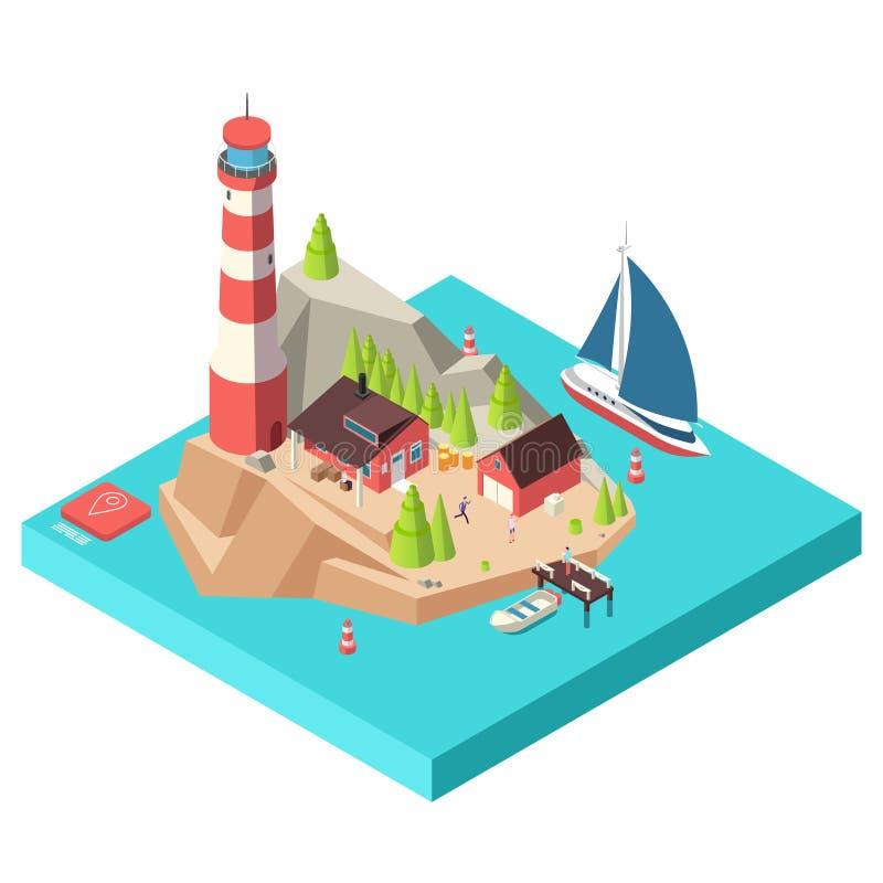 Равновеликий маяк Остров с башней и домом, деревья и шлюпка на море и иллюстрация вектора людей равновеликая иллюстрация вектора