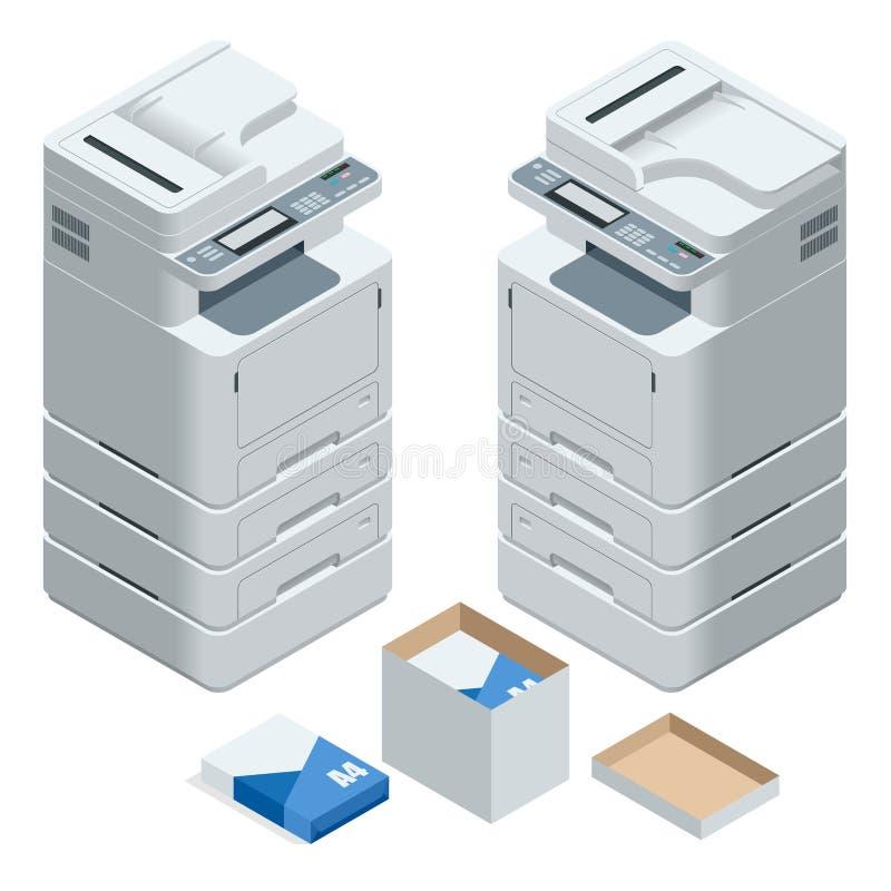 Равновеликий многофункциональный принтер офиса Вектор блока развертки принтера офиса профессиональный многофункциональный изолиро иллюстрация штока