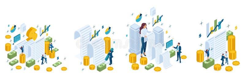 Равновеликий набор концепций дела, согласование, контракт, заем, ипотека, деньги, наличные деньги иллюстрация штока