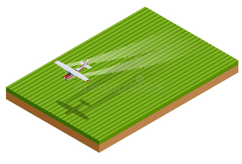 Равновеликий опылитель полей прикладывает химикаты к полю вегетации также вектор иллюстрации притяжки corel иллюстрация вектора