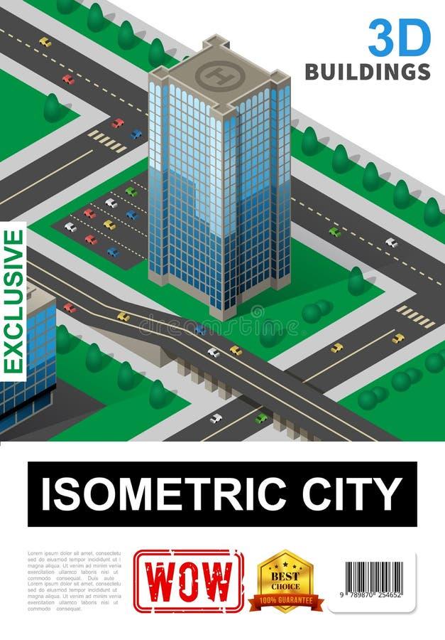 Равновеликий плакат городского пейзажа иллюстрация вектора