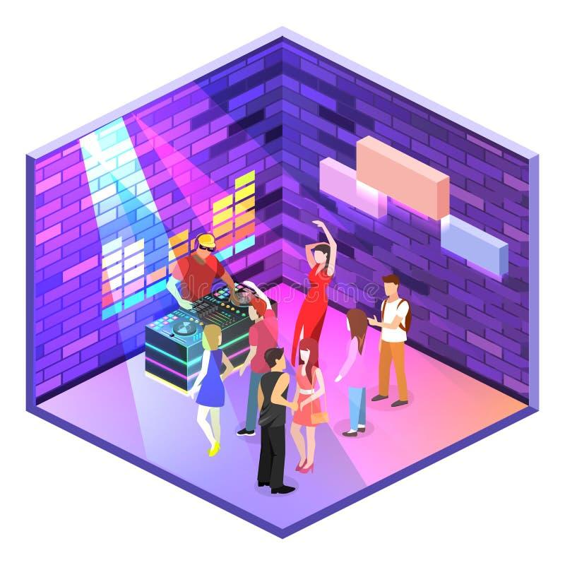 Равновеликий плоский бар cutaway 3Dconcept в ночном клубе иллюстрация штока