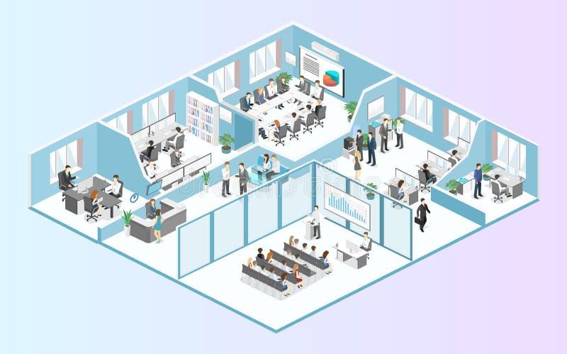Равновеликий плоский вектор концепции внутренних отделов пола офиса конспекта 3d стоковое фото
