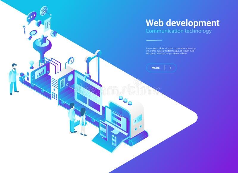 Равновеликий плоский вектор сети Дизайн Producti вебсайта иллюстрация вектора