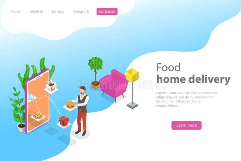 Равновеликий плоский шаблон страницы посадки вектора для доставки на дом еды иллюстрация штока