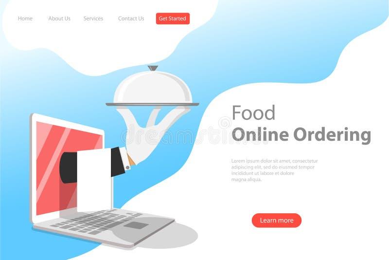 Равновеликий плоский шаблон страницы посадки вектора для онлайн приказывать еды бесплатная иллюстрация