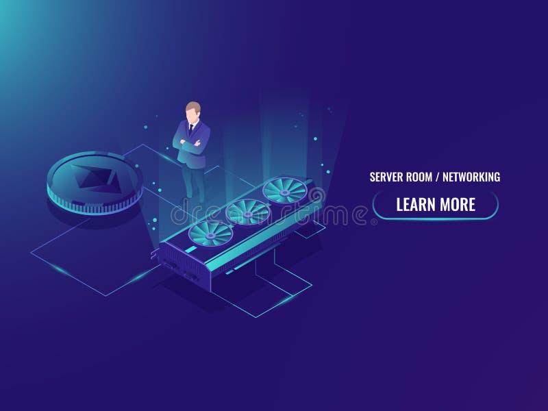 Равновеликий сервер фермы минирования, извлекает секретную горнорабочую валюты, комнату сервера, вектор видеокарты иллюстрация вектора