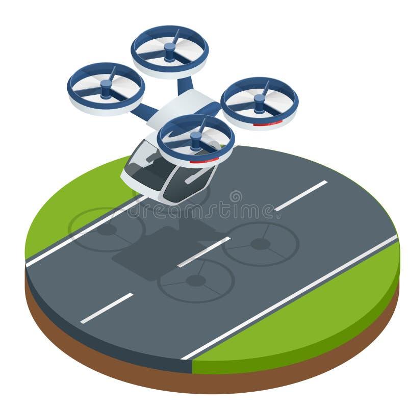 Равновеликий современный футуристический переход летного пассажира Такси воздуха Современные беспилотные электрические воздушные  иллюстрация вектора