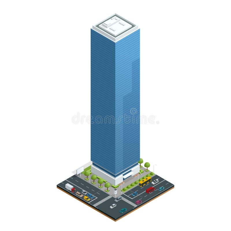 Равновеликий состав домов города с зданием и дорогой изолировал иллюстрацию вектора Собрание городских элементов иллюстрация вектора
