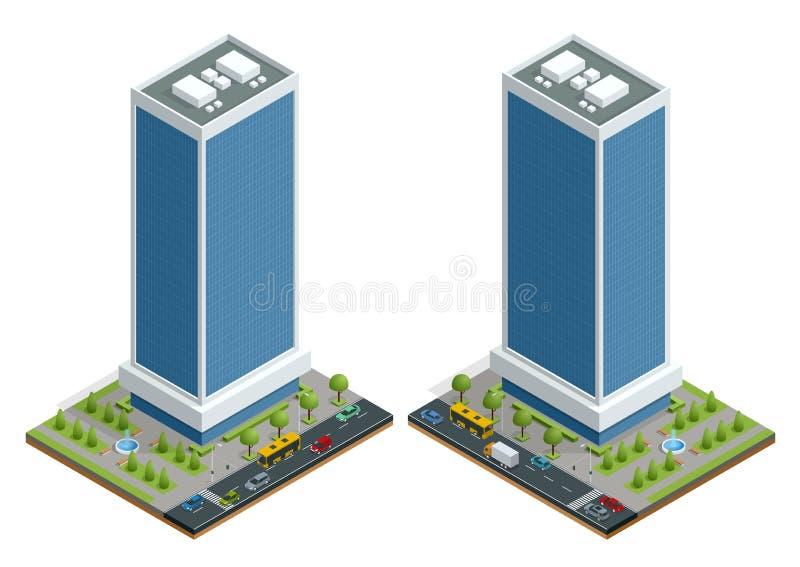 Равновеликий состав домов города с зданием и дорогой изолировал иллюстрацию вектора Собрание городских элементов бесплатная иллюстрация