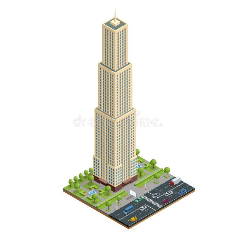 Равновеликий состав домов города с зданием и дорогой изолировал иллюстрацию вектора Собрание городских элементов иллюстрация штока