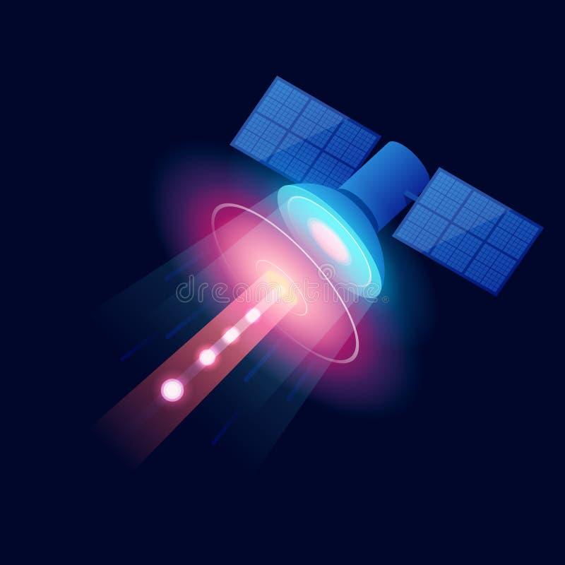 Равновеликий спутник GPS Беспроволочная спутниковая технология Сеть мира глобальная Оборудование для спутникового телевидения и р бесплатная иллюстрация