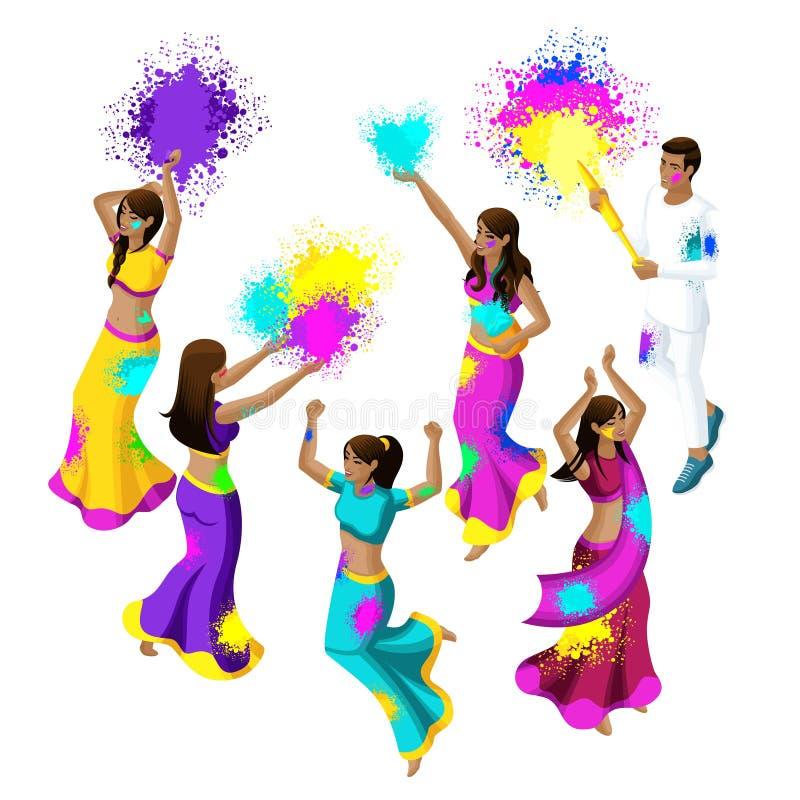 Равновеликий фестиваль весны, фестиваль цветов, девушки и парни индийских женщин скачут, радуются, счастье, ход покрашенный порош бесплатная иллюстрация
