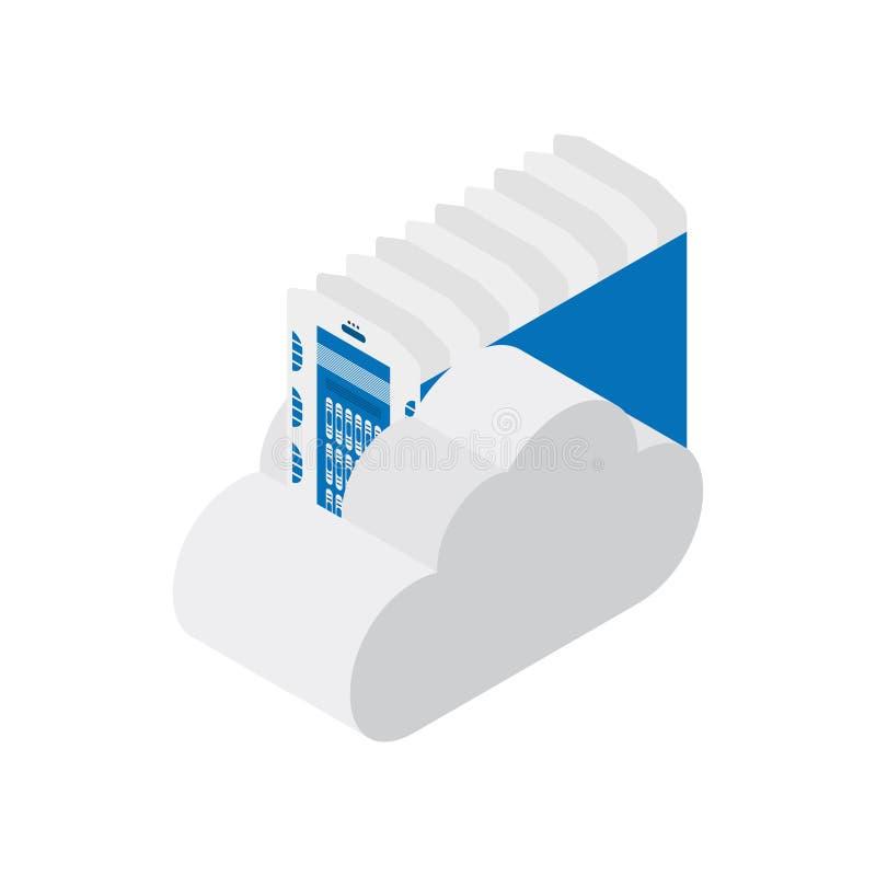 Равновеликий центр данных с облаком на белой предпосылке Оборудование для хранения файлов Плоская иллюстрация EPS10 вектора бесплатная иллюстрация