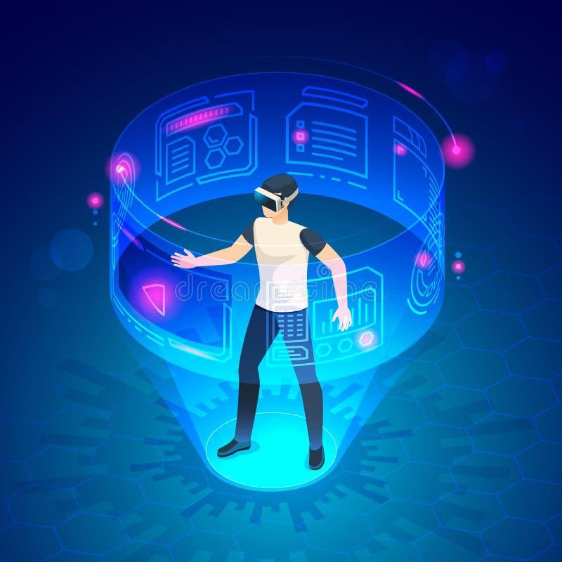 Равновеликий человек в vr Иллюстрация вектора развлечений игры устройств шлемофона изумленных взглядов будущего мира виртуальная иллюстрация штока