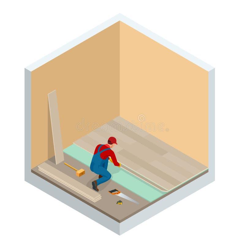 Равновеликий человек устанавливая новый прокатанный деревянный пол Строительная промышленность конструкции, новый дом, интерьер к бесплатная иллюстрация