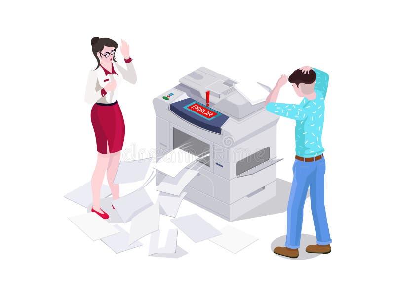 равновеликий человек 3d и женщина в печати офиса и сделать фотокопировальное устройство на принтере Ошибка и обрыв копировальной  иллюстрация вектора