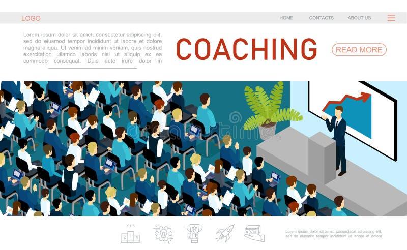 Равновеликий шаблон интернет-страницы бизнес-конференции иллюстрация вектора