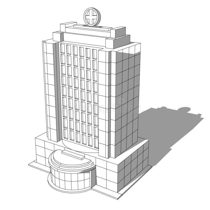 Равновеликое здание больницы в линии стиле сетки на белизне бесплатная иллюстрация
