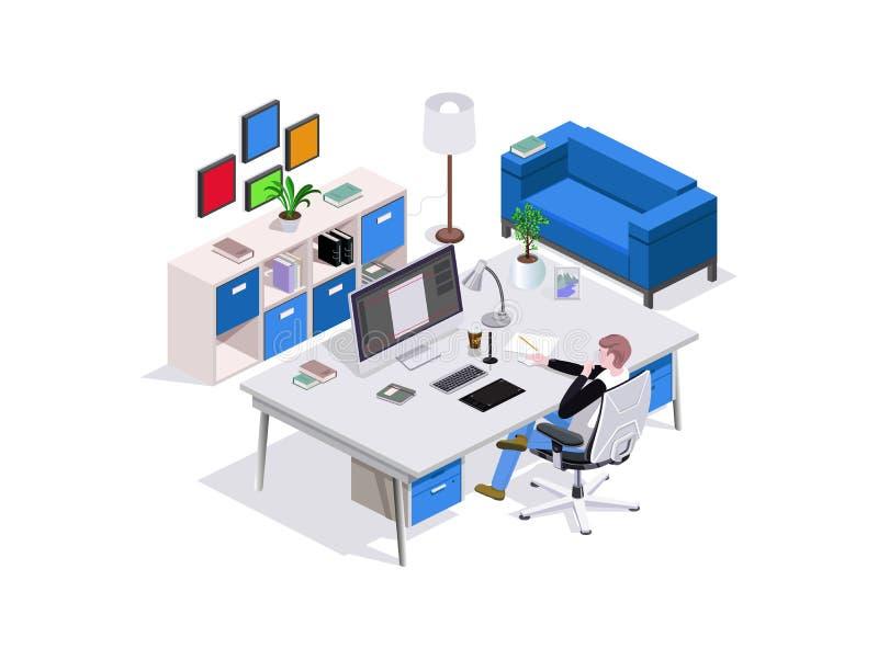 равновеликое исследование человека состава 3d, место дизайнера на таблице, вокруг внутренней мебели и софы, хозяйственные товары  иллюстрация вектора