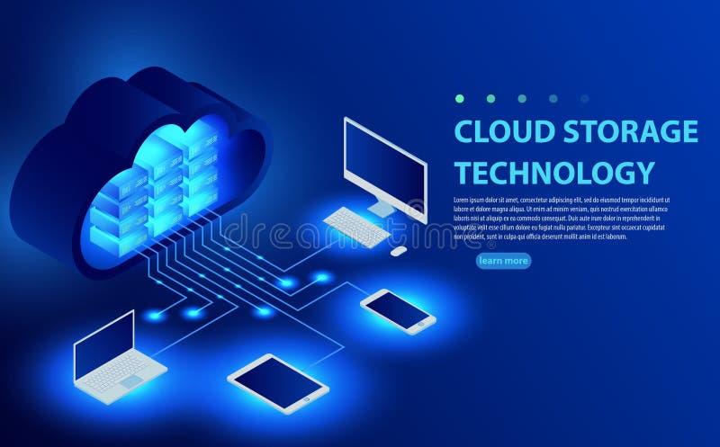 Равновеликое облако хозяйничая дизайн знамени вектора сети Концепция хранения 3D онлайн вычислять иллюстрация штока