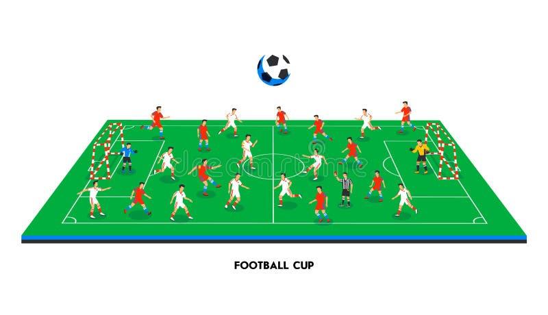 равновеликое футбольное поле 3D с футбольными командами Тема спорта, спортивная площадка футбола, стадион Красочные футболисты да иллюстрация вектора