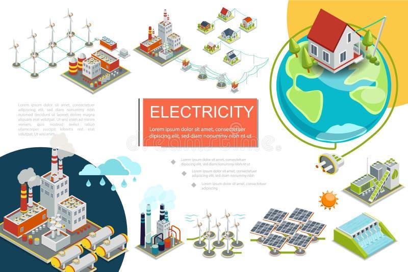 Равновеликое электричество Infographics иллюстрация вектора