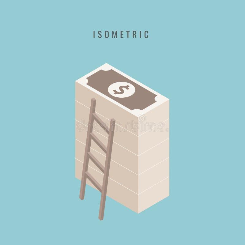 равновелико Большая штабелированная куча наличных денег Сотниы долларов Плоский s иллюстрация штока