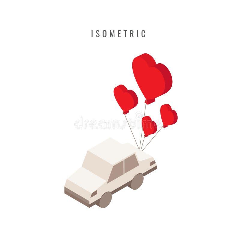равновелико икона Валентайн Автомобиль подарка сердца символ вектора в st иллюстрация штока
