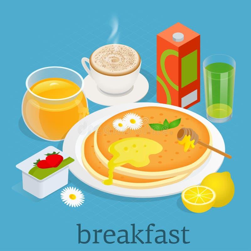 равновелико Установленные значки завтрака и оборудования кухни Завтрак служил с югуртом, кофе, соком, блинчиками с иллюстрация штока