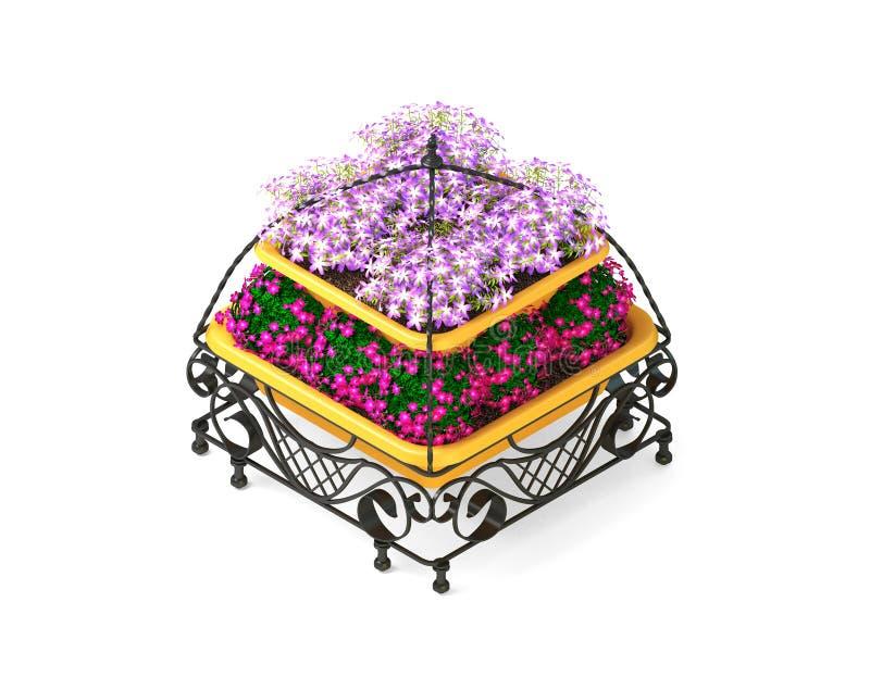 равновелико Metal бак с цветками на белой предпосылке иллюстрация вектора