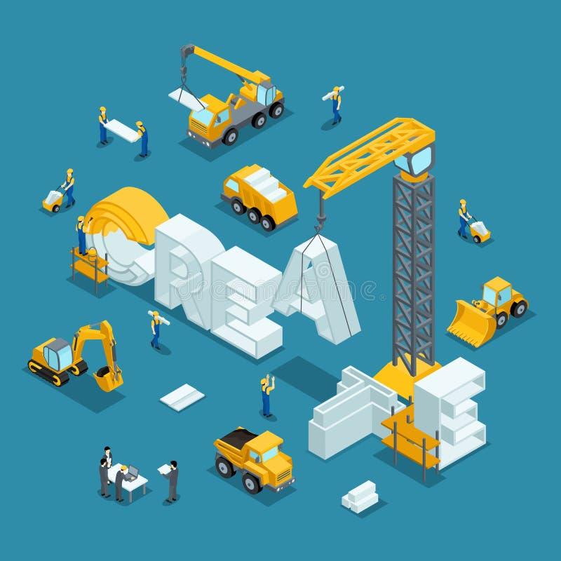 Равновеликая идея дела здания 3d, творческая, создается иллюстрация вектора