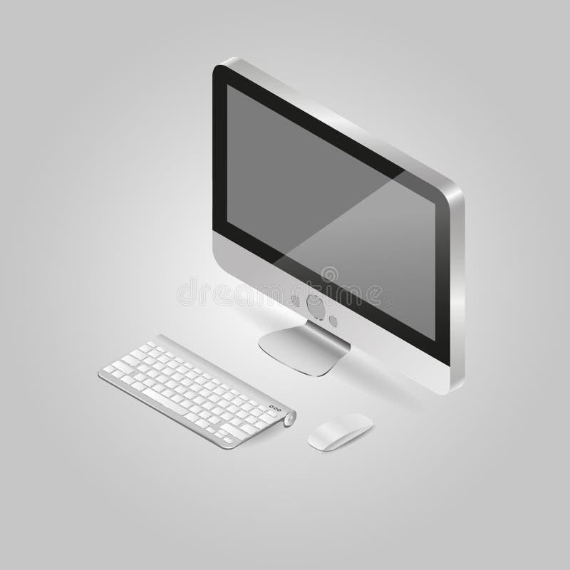 Равновеликая иллюстрация персонального компьютера и стоковое фото
