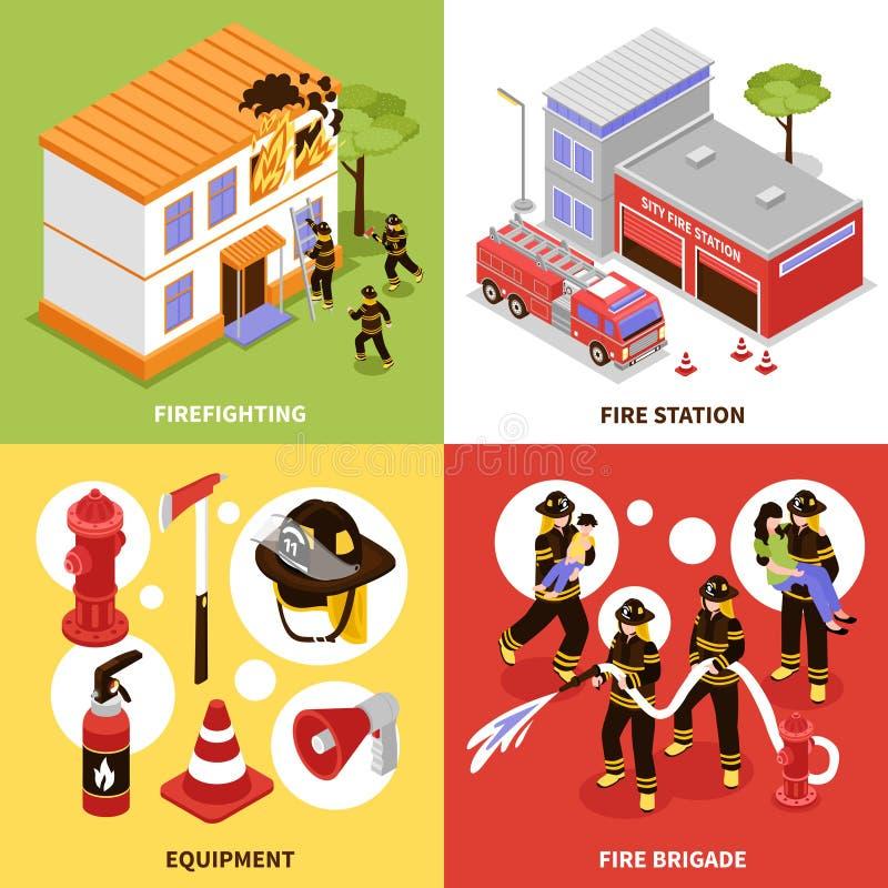 Равновеликая концепция пожарного 2x2 иллюстрация штока
