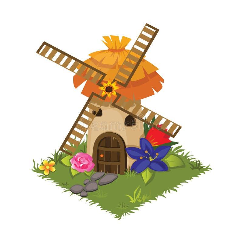 Равновеликая мельница точильщика деревни шаржа украшенная с цветками - элементами для карты Tileset иллюстрация вектора