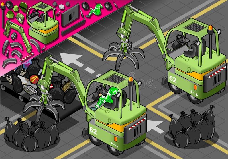 Равновеликая мини машина механически руки в вид сзади иллюстрация вектора