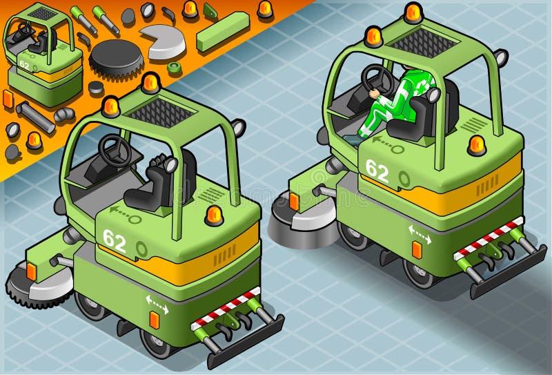 Равновеликая мини машина уборщика с человеком на работе в вид сзади иллюстрация вектора