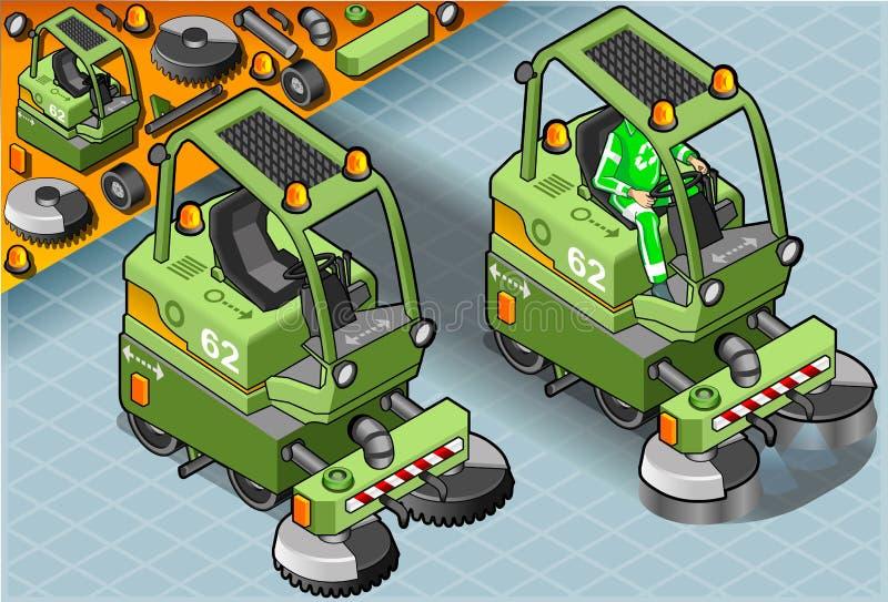 Равновеликая мини машина уборщика с человеком на работе в вид спереди иллюстрация штока
